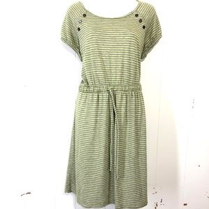 HAANI Green & Gray Striped Knit Drawstring Dress M